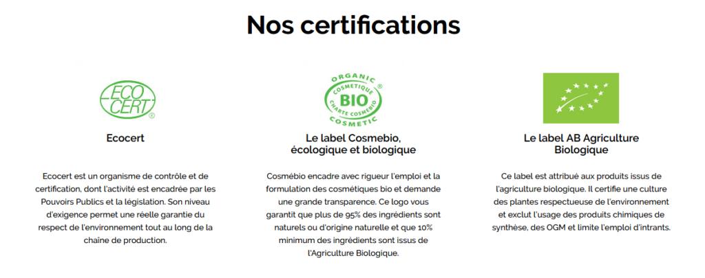 Labels ECOCERT Charte COSMEBIO COSMOS ORGANIC ORGANIC COSMETIC